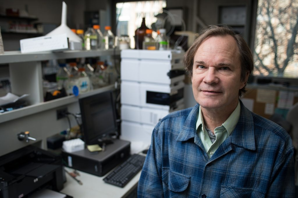 Johnathan Walton, director of the Great Lakes Bioenergy Research Center, poses in his lab on Wednesday November 21, 2012.