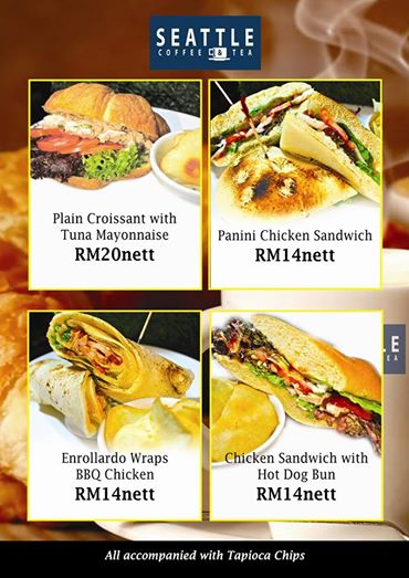 Paninia dn sandwiches offered at Seattle Tea & Coffee Kuching (Picture source from Seattle Tea & Coffee Kuching)