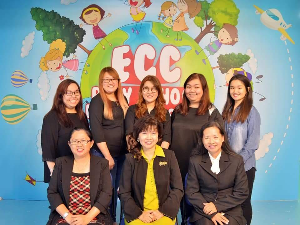 ECC Playschool Plus teachers, with Dr. Janet Lee (sitting in the centre) and Lily (sitting on the right)